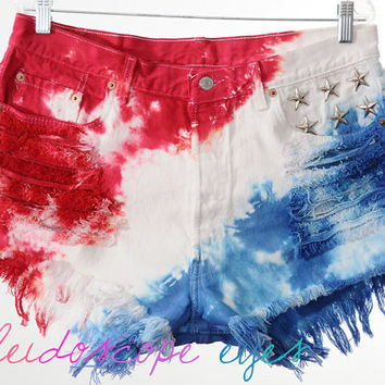 Vintage Levis 501 Studded AMERICAN FLAG Tie Dye Stars & Stripes Cut Off Shorts XXL