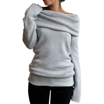 Women's Shrugged Off Shoulder Pullover Sweater