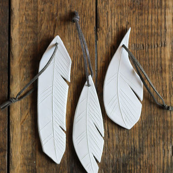 ceramic feather | hanging ornament | white | set of three