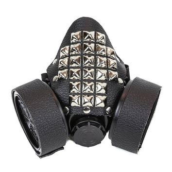 Black Leather & Silver Studded Gas Mask Respirator Cyber Goth Cosplay