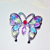 New Multi Color Crystal Rhinestone Butterfly Brooch Vintage Colorful Pin Purple Marquis Red Green Blue White Rhinestones Figural Insect