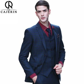 (Jacket+Pants+Vest) Cajerin 100% Wool Blue Lattice Men Clothing Tailored Slim Fit Tuxedos