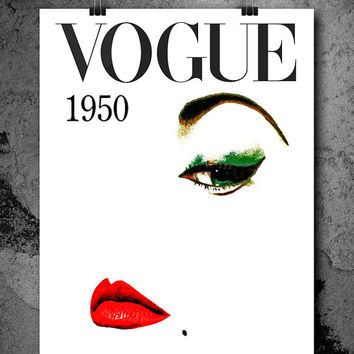 Vogue Cover Print, Vogue Magazine Cover Art Print, Fashion wall Art Vogue Print
