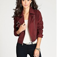 Blocked Biker Denim Jacket at Guess