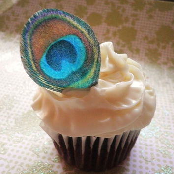 Edible Peacock Eye Feathers - 1 dozen - Cake & Cupcake toppers - Food Accessories
