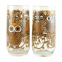 60s 70s MOD OWL glass set of 4 hipster bird by TheBabyDynosaur