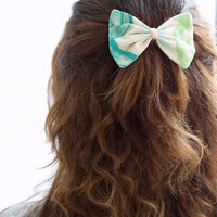 Hairbow, Medium Printed Light Blue, Teal and Lime green with pinkFabric Barrette Clip Hair Accessories for Girls Women Handmade