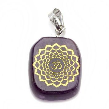 Gold Engraved Chakra Gemstone Reiki Healing Pendant Necklace
