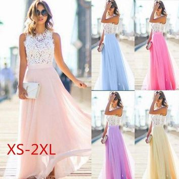 XS-2XL Women Fashion Weddings Photography Dress Lace Maxi Dress Elegant Long Mesh Yarn Dress Party Evening Prom Show  Bridesmaid