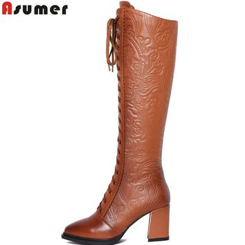 ASUMER 2017 high quality women boots high heels pu+ genuine leather motorcycle boots women lace up knee high boots winter shoes