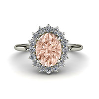 Morganite Ring Diamond Halo Engagement Ring Oval Cluster 14K White Yellow or Rose Gold