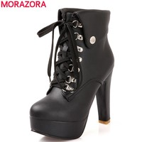 MORAZORA 2017 New fashion lace-up women ankle boots high heels black brown autumn winter motorcycle boots platform shoes woman