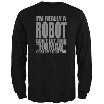Halloween Human Robot Costume Mens Long Sleeve T Shirt