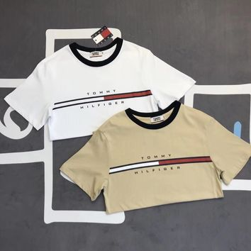 """""""Tommy Hilfiger"""" Unisex Vintage Casual Letter Multicolor Print Short Sleeve Couple T-shirt Top Tee"""