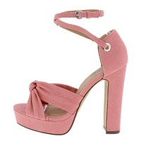 PINK KNOTTED PEEP TOE CROSS ANKLE STRAP HEEL