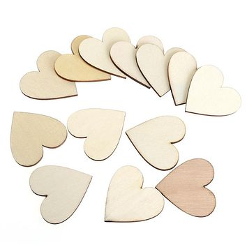 100pcs 40mm Blank Heart Wood Slices Discs for DIY Crafts Embellishments