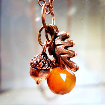 Acorn Necklace Fall Oak Leaf and  Acorn with Chalcedony Handmade
