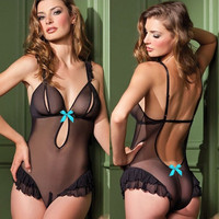 Cute Hot Deal On Sale Deep V Sexy Spaghetti Strap Black Exotic Lingerie [6595803011]