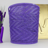 Wicker Basket Trash Can Laundry Hamper Purple Woven Weave Dining Room Centerpiece Bathroom Home Office Garbage Can For Kitchen Mid Century
