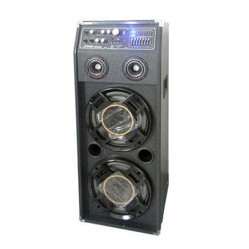 1000 Watt Disco Jam 2-Way Powered Speaker System with Flashing DJ Lights, USB/SD Card Readers, FM Radio, 3.5mm AUX Input, USB Charge Port & Graphic EQ