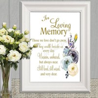 In Loving Memory Wedding Sign Printable Blue and gold floral Celebration of Life sign Memorial Bereavement Funeral  5x7 8x10 A4 DOWNLOAD