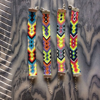 Neon Tribal Friendship Bracelets with Clasps