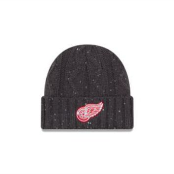 ONETOW NHL Detroit Red Wings Women's Frosted Cable Knit Hat