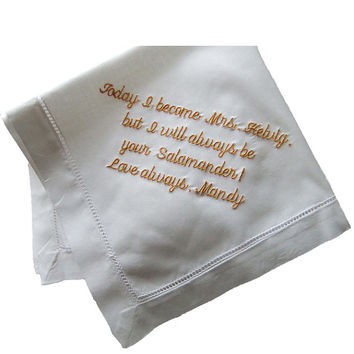 Hanky for Dad Personalized Wedding Handkerchief for Father of the Bride Gift