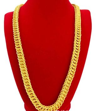 Hip Hop Mens Necklace Dragon Chain Gold Filled Male Solid Necklace 23 Inches Rock Style Accessories Jewelry