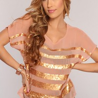 Dusty Peach Sequin Decor Stylish Sheer Top