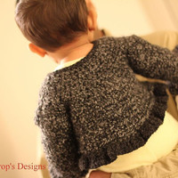 Baby Sweater Jacket Ruffles crochet jacket shrug bolero baby toddler newborn girls children sweater