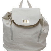 White Bookbag with Gold Detailing