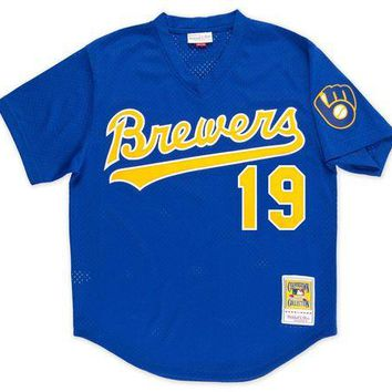 VON3TL Mitchell Ness Robin Yount 1991 Authentic Mesh BP Jersey Milwaukee Brewers