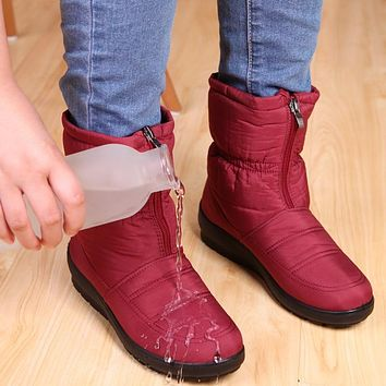 Warm Winter Boots Women Boots 2018 New Rain Boots Waterproof Women Shoes Snow Boots Fashion Mother Shoes Solid Ladies Shoes