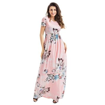 Pocket Design Short Sleeve Blush Floral Maxi Dress