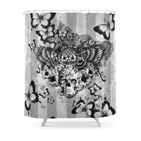 Floral Owl With Sugar Skull Shower Curtain Bath Products Bathroom Decor