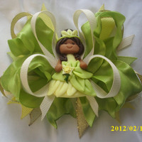 The Princess and the Frog Princess Hair Bow with Tiana Center