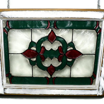 Vintage Faux Stained Glass Salvaged Window Pane, Red and Green Glass Panel