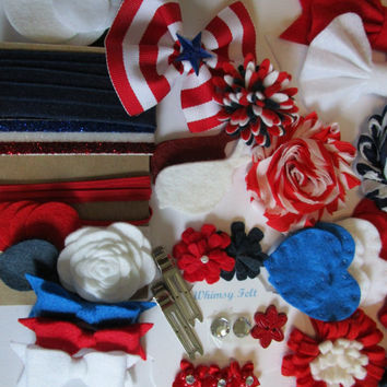 America Celebrated DIY Headband kit for 5+ headbands. Red, White, Blue, bows and flowers,  infant headband, baby showers, wool felt flowers