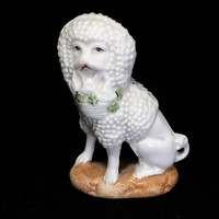 Staffordshire Style Poodle Figurine with Basket of Puppies in Mouth Miniature Hand Painted Dog Mid Century Era 518