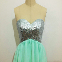 Sequin Ming Short Bridesmaid Prom Dress, Mint Short Bridesmaid Dress,Champagne Short Prom Dress,Champagne Sequin Evening Prom Dresses 2015