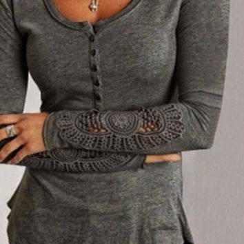 Button Up Top with Lace Trim