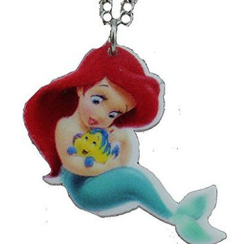 "Basket Hill, Disneys The Little Mermaid "" Arial as Child"" (one sided) Girls Necklace"