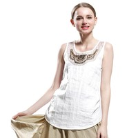MapleClan Summer Fashion Pastoral Studded Sleeveless Tunic Top Tank