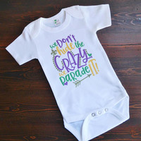 Mardi Gras Baby Onesuit - Baby Shower Present - Newborn Short Sleeved Bodysuit