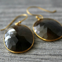 Large Brown Sapphire Drop Earrings, Brown Bezel Dangle, Brown Natural Oval Stone Earrings