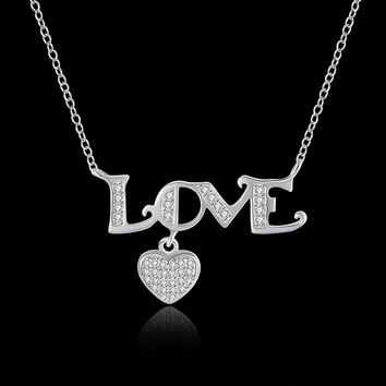 STYLEDOME S925 Silver LOVE Heart Shaped Necklace