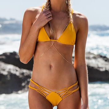 Summer new fashion solid color hollow sexy straps two piece bikini swimsuit Yellow