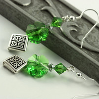 Irish Green Earrings Spring Green Celtic by AbacusBeadCreations