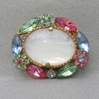 Opaline Mirrored Milk Glass & Multi Color Pastel Rhinestone Flowers 1960's Vintage Pin
